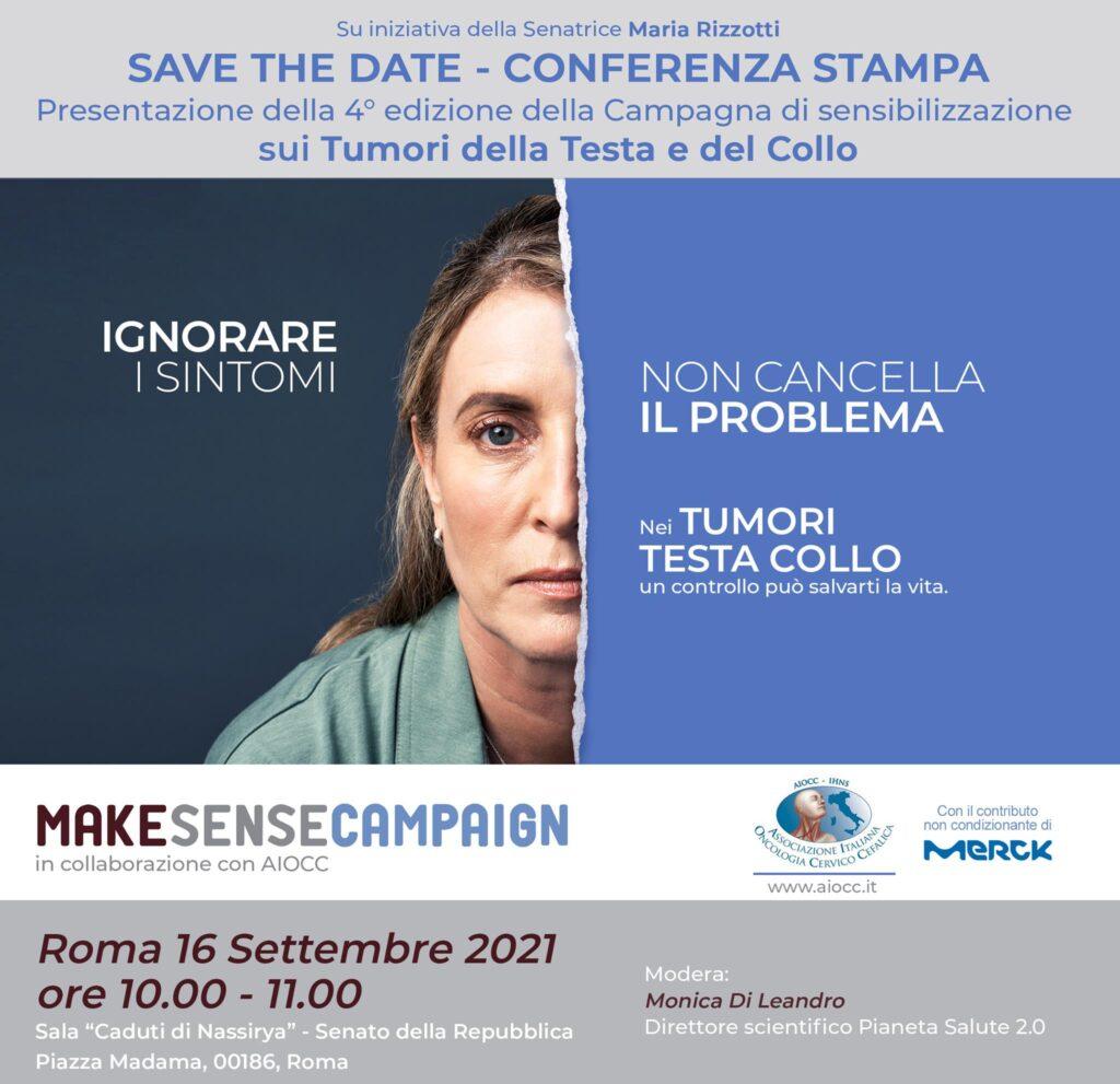 Make Sense Campaign2021: 4° edizione della Campagna di sensibilizzazione sui Tumori della Testa e del Collo